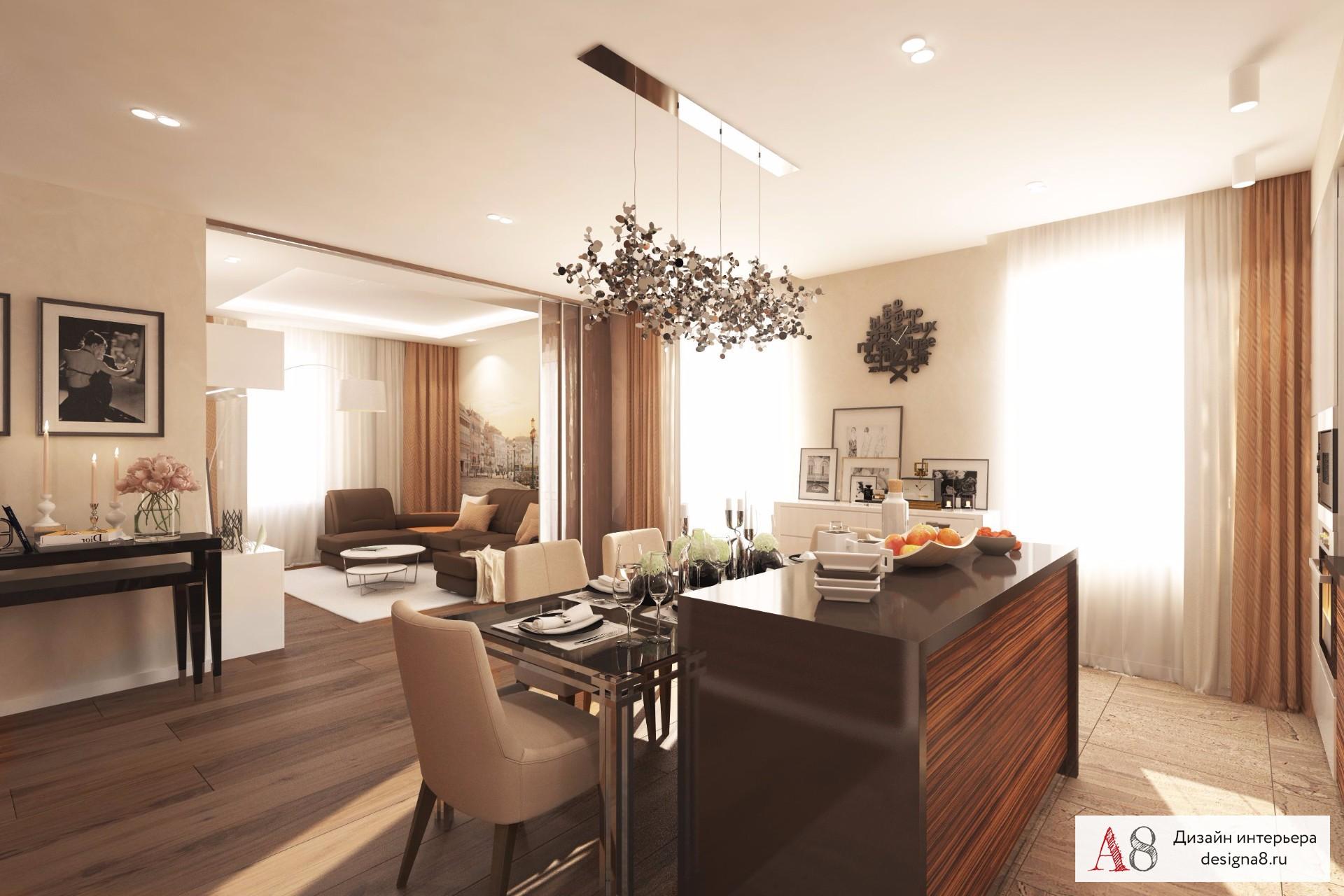 Фото интерьера 3-комнатной квартиры