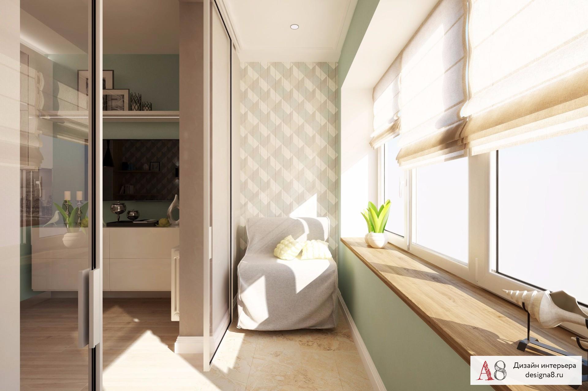 Объединенный балкон с комнатой дизайн.