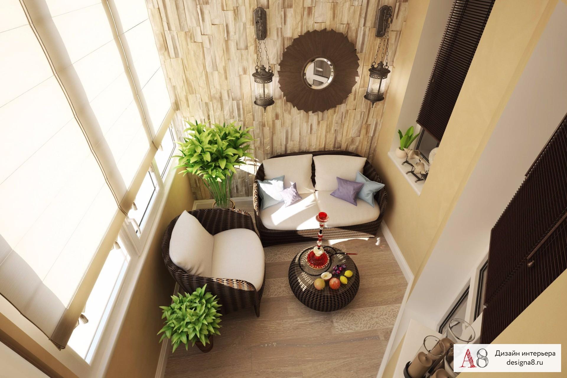 Современный дизайн интерьера (interior design) радиальной кв.