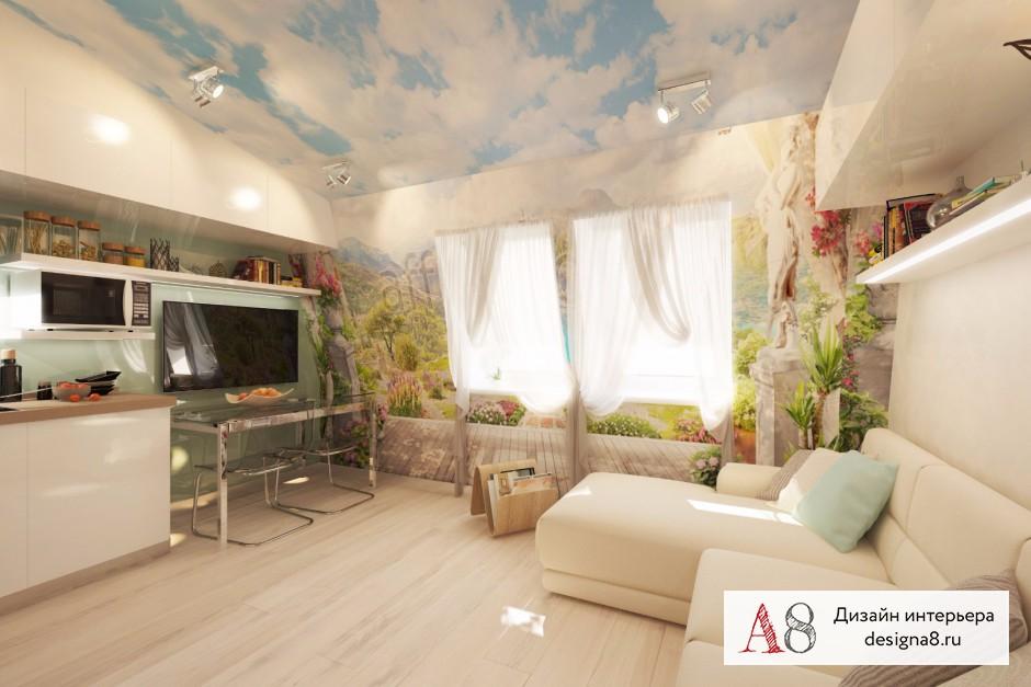 Дизайн интерьера гостиной в квартире-студии в Девяткино – 01
