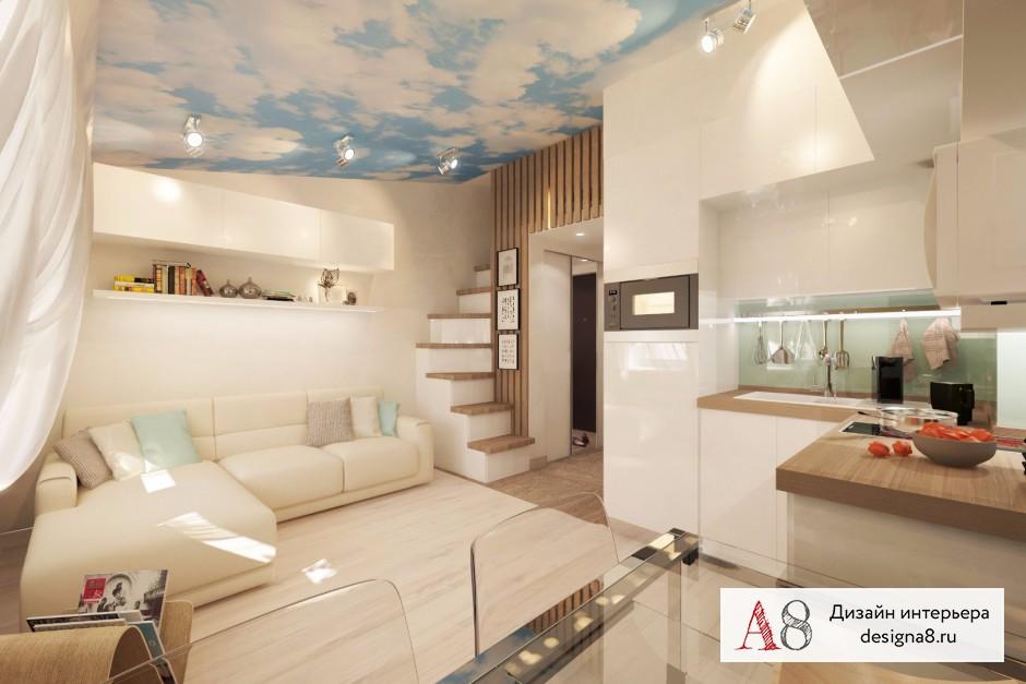 Дизайн интерьера гостиной в квартире-студии в Девяткино – 02