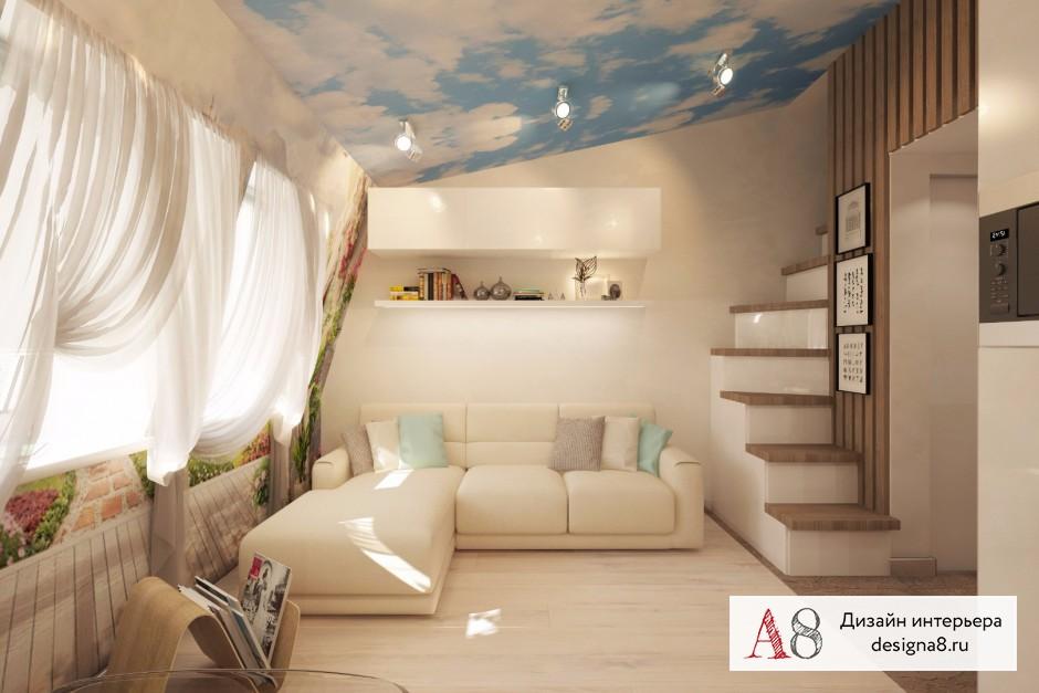 Дизайн интерьера гостиной в квартире-студии в Девяткино – 03