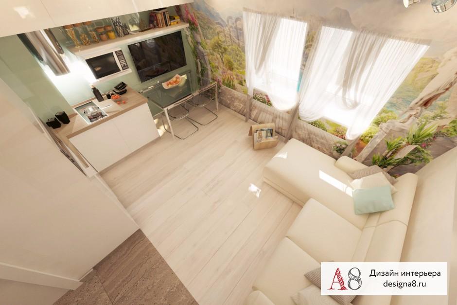 Дизайн интерьера гостиной в квартире-студии в Девяткино – 04