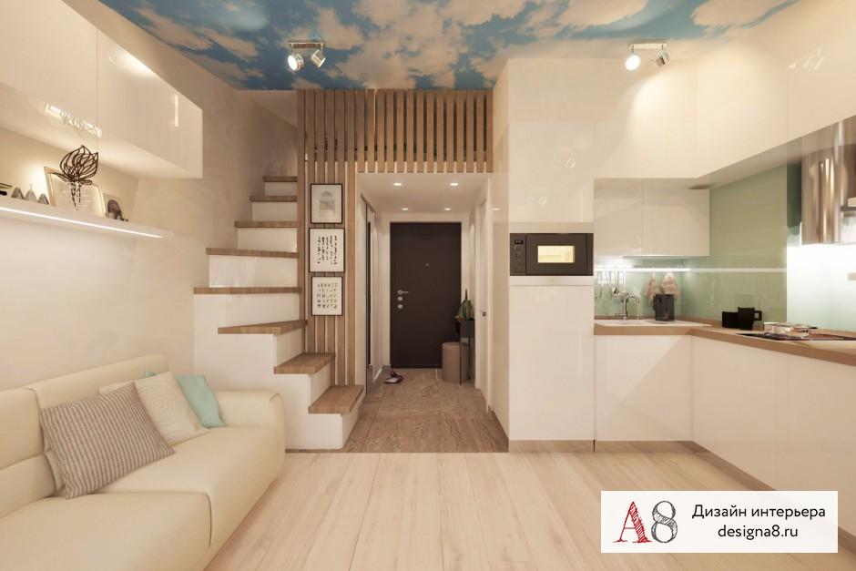 Дизайн интерьера гостиной в квартире-студии в Девяткино – 08