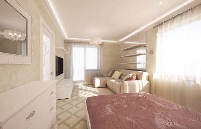 Интерьер однокомнатной квартиры 40 кв.м