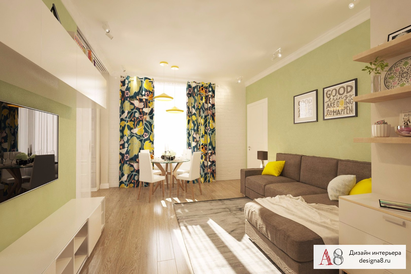 Узкая кухня-гостиная 20 кв.м дизайн