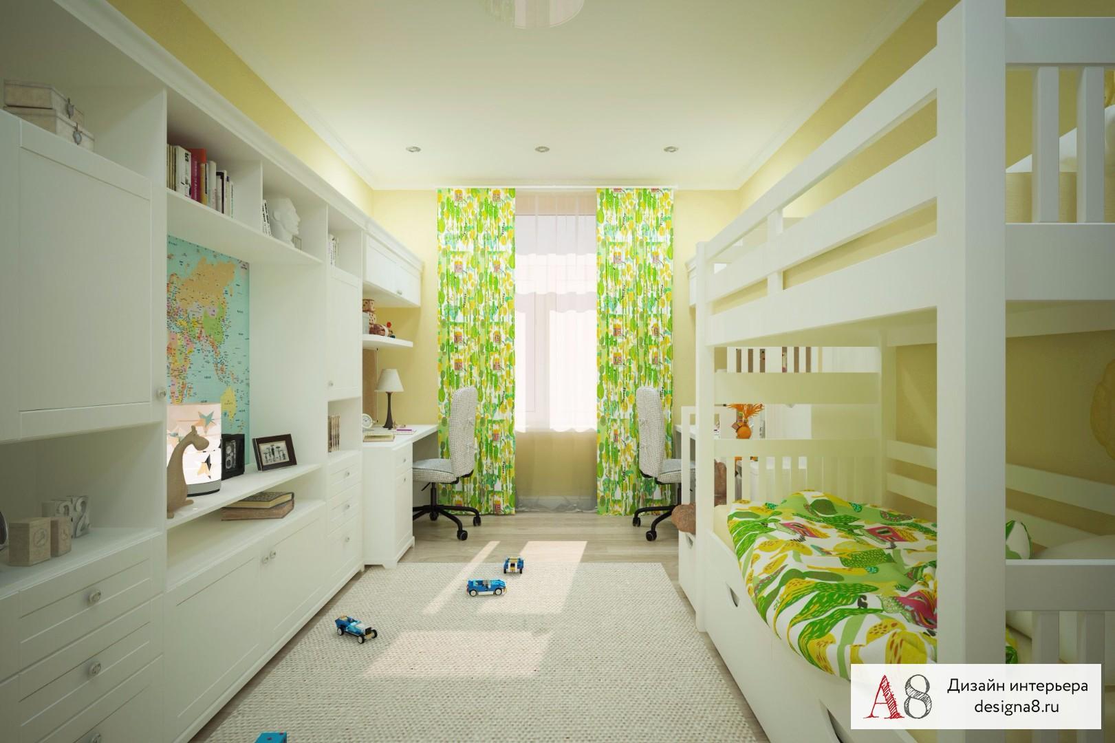 Детская комната на 2 разнополых детей фото