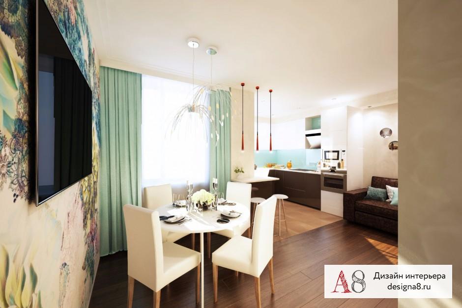 Дизайн интерьера кухни-гостиной – 01