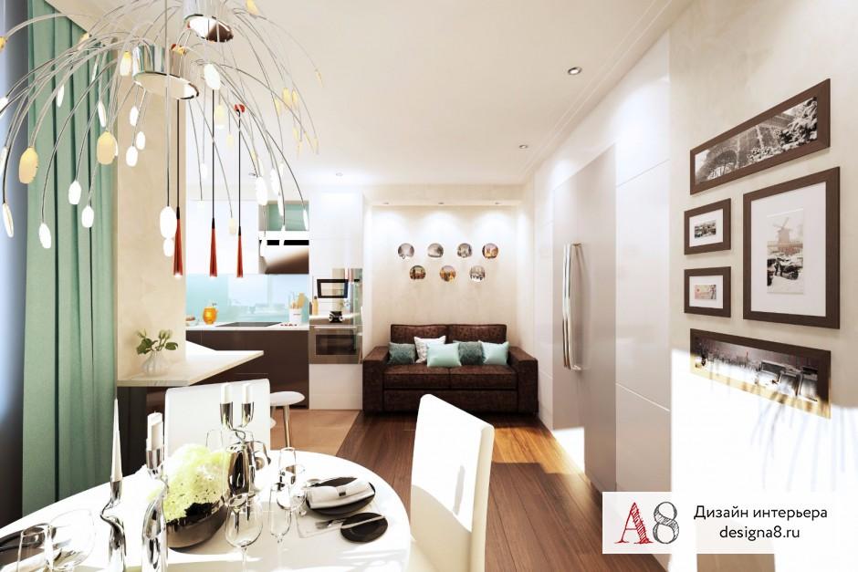 Дизайн интерьера кухни-гостиной – 02