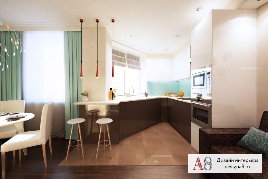 Дизайн интерьера кухни-гостиной – 03