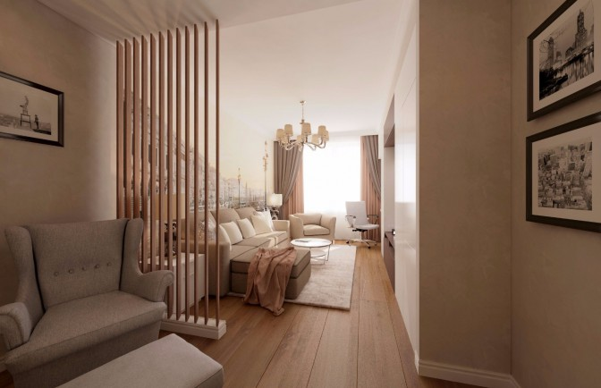 Дизайн проект двухкомнатной квартиры 64 кв. м