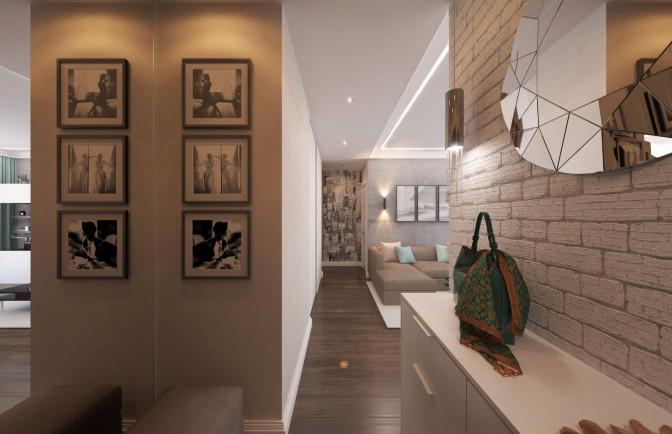 Дизайн проект трёхкомнатной квартиры 83 кв. м