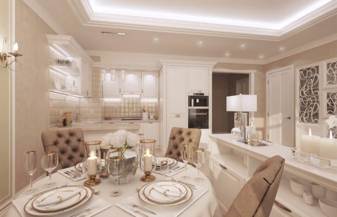 Дизайн проект однокомнатной квартиры 56 кв. м