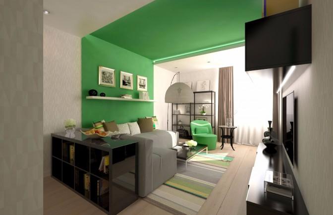 Дизайн проект однокомнатной квартиры 45 кв. м