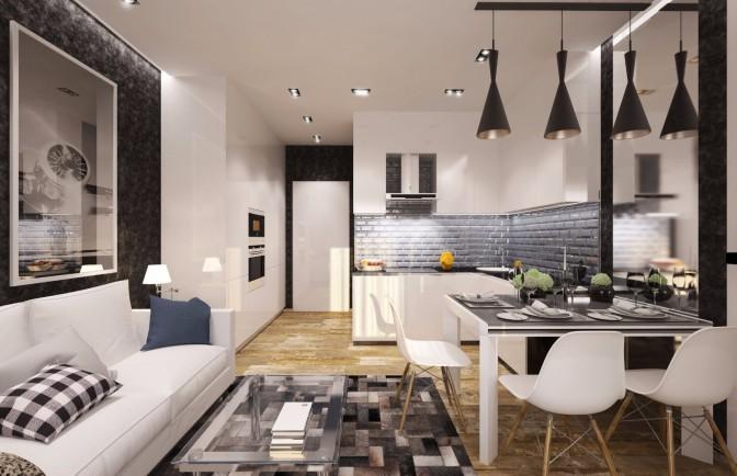 Дизайн проект однокомнатной квартиры 50 кв. м