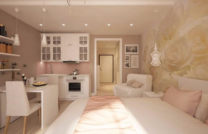 Интерьер однокомнатной квартиры-студии 32 кв. м