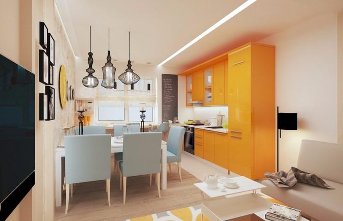 Интерьер однокомнатной квартиры 44 кв. м