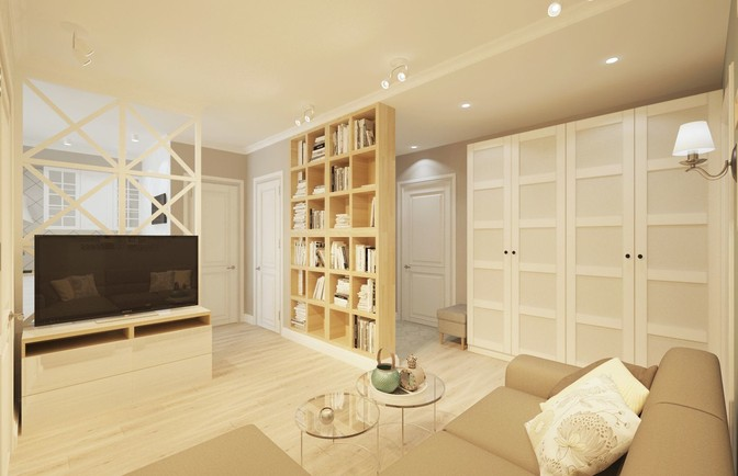 Интерьер трехкомнатной квартиры 57 кв. м