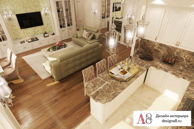 Дизайн 2 комнатной квартиры 54 кв.м в