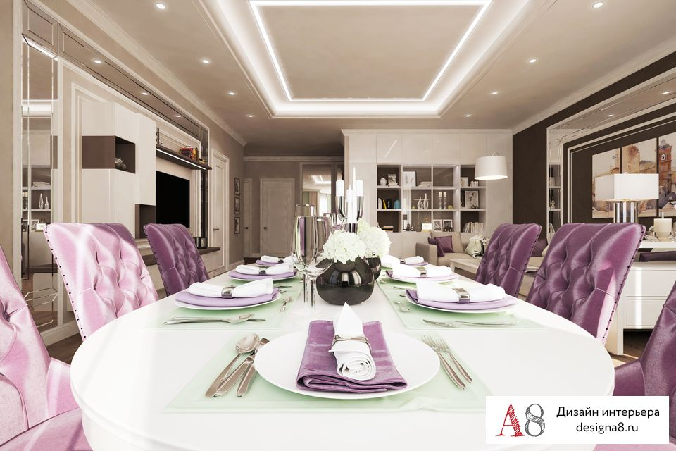 Дизайн гостиной и столовой вместе