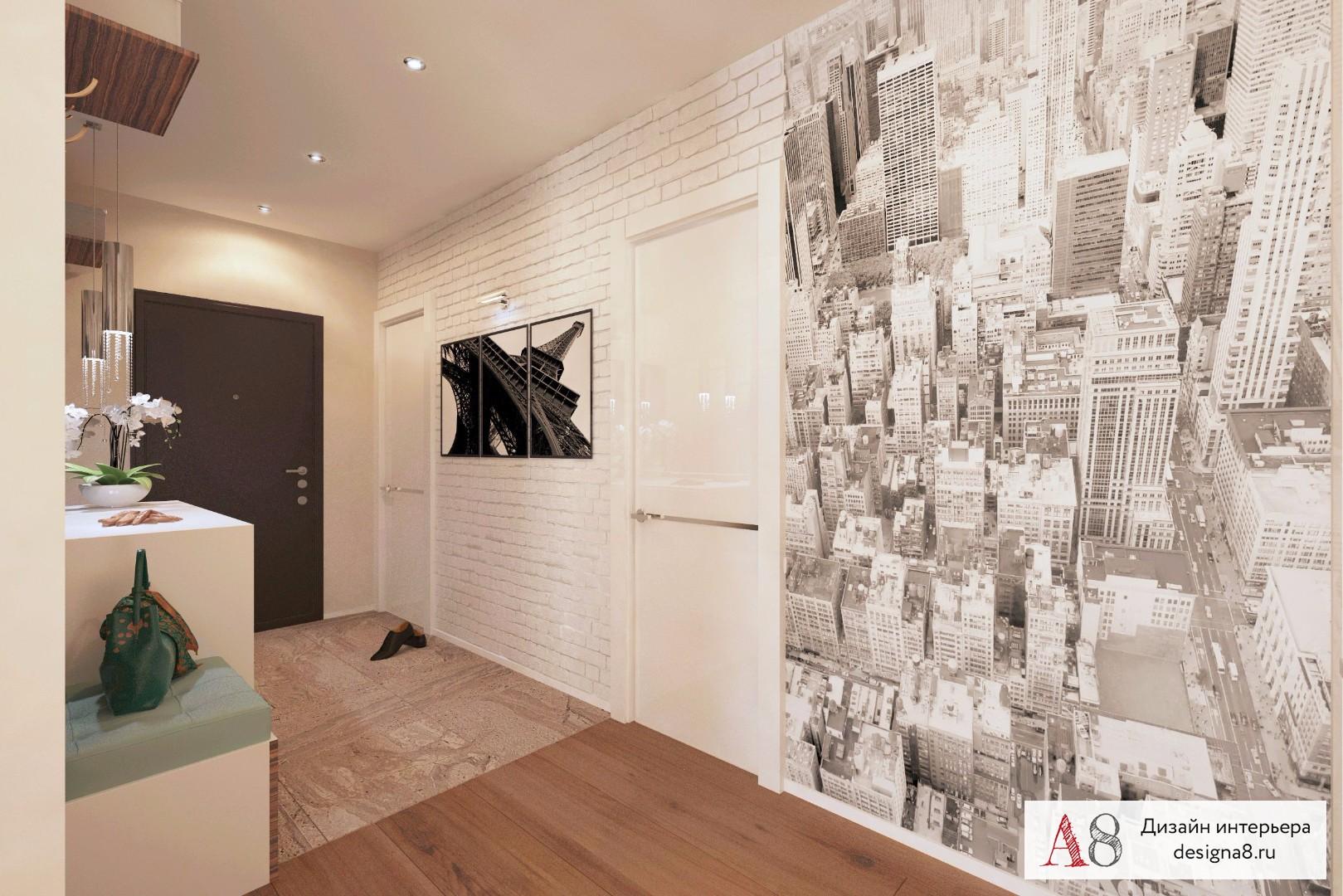 дизайн коридора с применением обоев и фотообоев сегодняшний