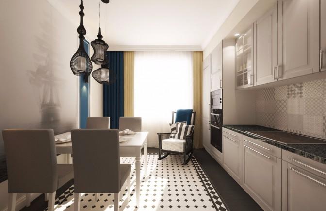 Дизайн проект трёхкомнатной квартиры 65 кв. м