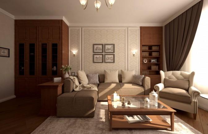 Дизайн проект трёхкомнатной квартиры 97 кв. м