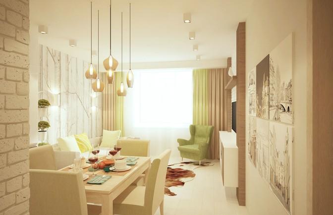 Интерьер трехкомнатной квартиры 50 кв. м