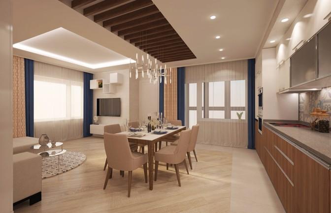 Интерьер трехкомнатной квартиры 93 кв. м