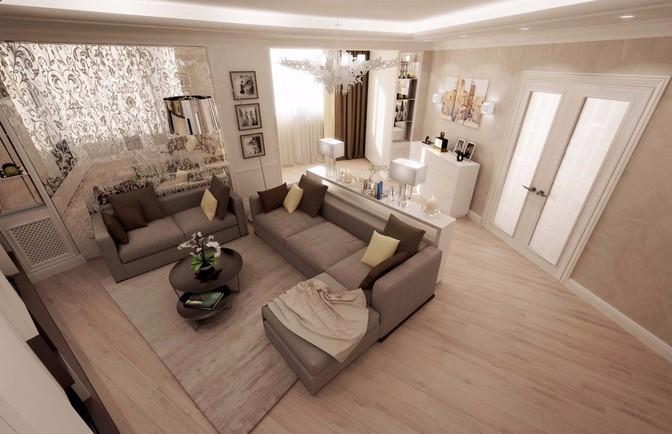 Интерьер трехкомнатной радиальной квартиры 150 кв. м
