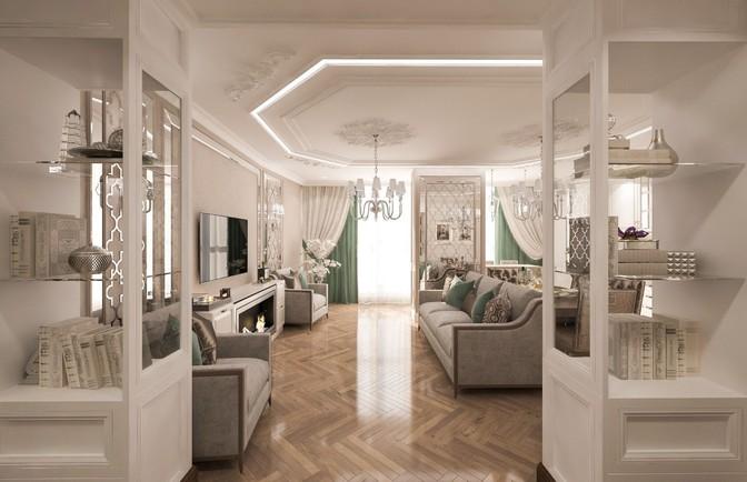 Интерьер трехкомнатной квартиры в классическом стиле