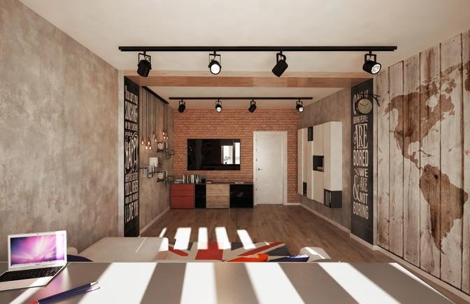 Интерьер трехкомнатной квартиры в стиле лофт