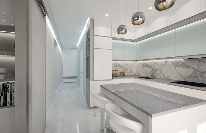 Интерьер трехкомнатной квартиры в стиле минимализм